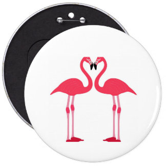 Pink Flamingo Love Birds Button
