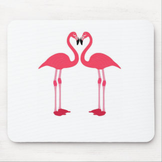 Pink Flamingo Love Birds Mouse Pad