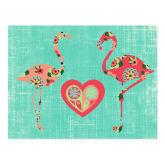 Pink Flamingo Love Post Card