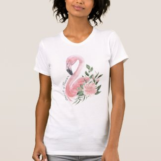 Pink Flamingo Maid of Honor Tropical Wedding T-Shirt