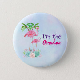 Pink Flamingo Momma & Baby with Palm Trees Button