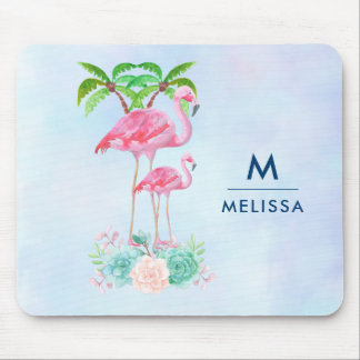 Pink Flamingo Momma & Baby with Palm Trees Custom Mouse Pad