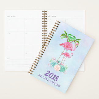 Pink Flamingo Momma & Baby with Palm Trees Planner