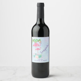 Pink Flamingo Momma & Baby with Palm Trees Wine Label