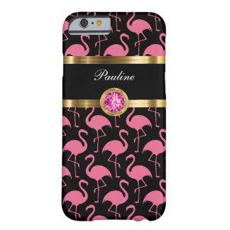 Pink Flamingo Monogram Barely There iPhone 6 Case