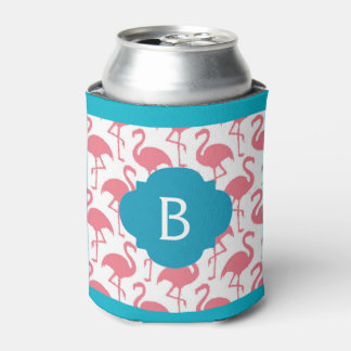 Pink Flamingo Monogram Can Coozie Can Cooler