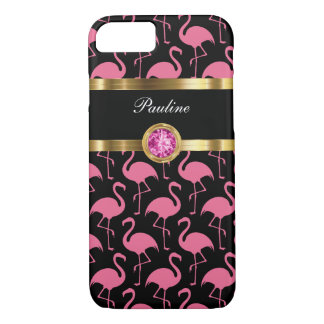 Pink Flamingo Monogram iPhone 8/7 Case