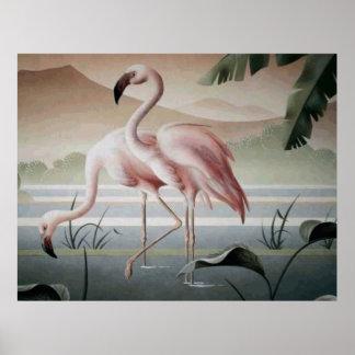 Pink Flamingo Mountain Pond Poster