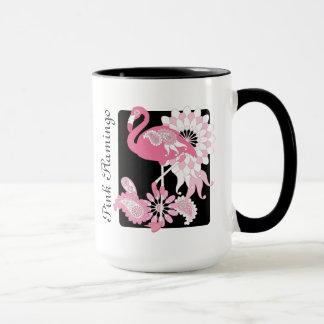 Pink Flamingo Name Girly Modern Black Mug