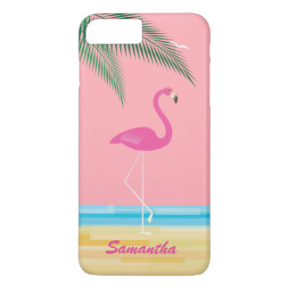 Pink Flamingo on Beach iPhone 7 Plus Case Coral