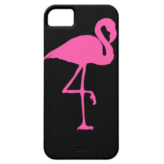 Pink Flamingo on Black Background iPhone 5 Cases