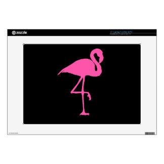 Pink Flamingo on Black Background Laptop Decals