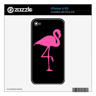 Pink Flamingo on Black Background Skin For iPhone 4S