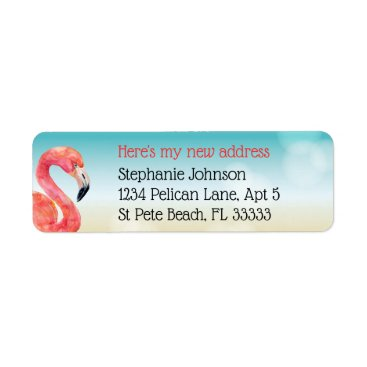 Beach Themed Pink Flamingo on Bokeh Beach New Address Label