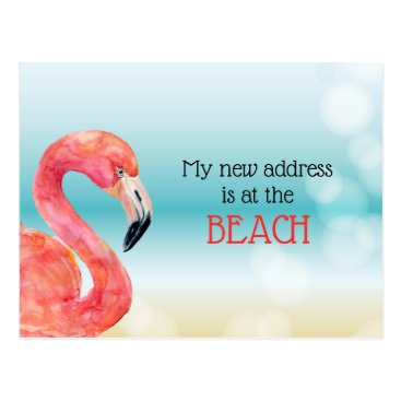 Beach Themed Pink Flamingo on Bokeh Beach New Address Postcard