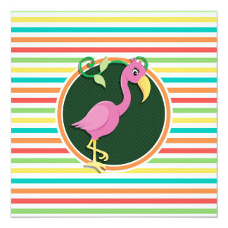 Pink Flamingo on Bright Rainbow Stripes Invitation