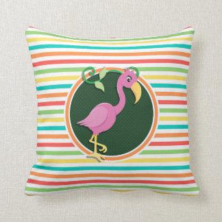 Pink Flamingo on Bright Rainbow Stripes Pillows