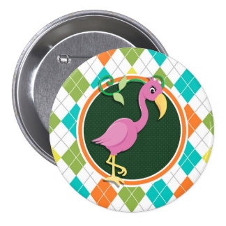 Pink Flamingo on Colorful Argyle Pattern Button