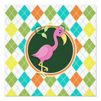 Pink Flamingo on Colorful Argyle Pattern Invitation