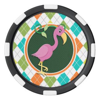 Pink Flamingo on Colorful Argyle Pattern Poker Chip Set