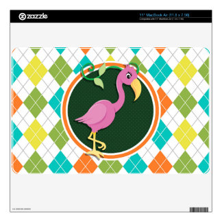 "Pink Flamingo on Colorful Argyle Pattern Skin For 11"" MacBook Air"