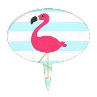 Pink Flamingo on Light Teal Stripes Cake Topper