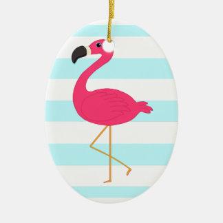 Pink Flamingo on Light Teal Stripes Ceramic Ornament
