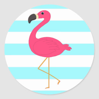 Pink Flamingo on Light Teal Stripes Classic Round Sticker