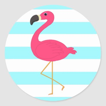 Beach Themed Pink Flamingo on Light Teal Stripes Classic Round Sticker