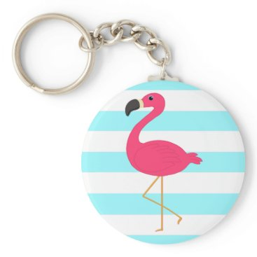 Beach Themed Pink Flamingo on Light Teal Stripes Keychain