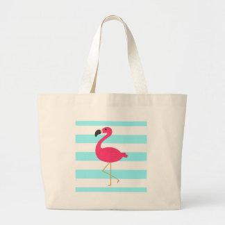 Pink Flamingo on Light Teal Stripes Large Tote Bag