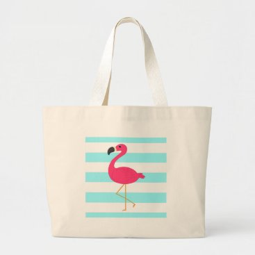 Beach Themed Pink Flamingo on Light Teal Stripes Large Tote Bag