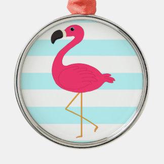 Pink Flamingo on Light Teal Stripes Metal Ornament