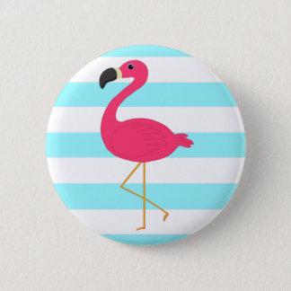 Pink Flamingo on Light Teal Stripes Pinback Button
