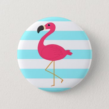 Beach Themed Pink Flamingo on Light Teal Stripes Pinback Button