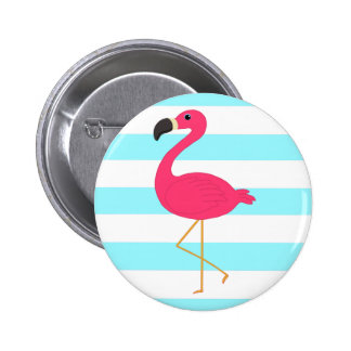 Pink Flamingo on Light Teal Stripes Pinback Button