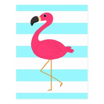 Beach Themed Pink Flamingo on Light Teal Stripes Postcard