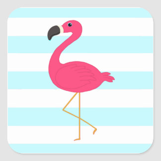Pink Flamingo on Light Teal Stripes Square Sticker