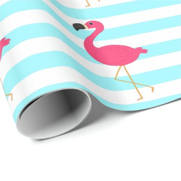Beach Themed Pink Flamingo on Light Teal Stripes Wrapping Paper