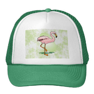 Pink Flamingo on Pale Green Background Hat