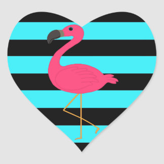 Pink Flamingo on Teal and Black Heart Sticker