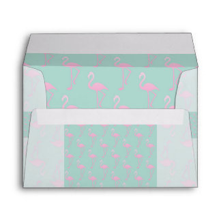 Pink Flamingo on Teal Seamless Pattern Envelope