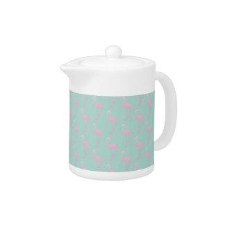 Pink Flamingo on Teal Seamless Pattern Teapot