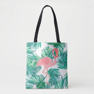 pink flamingo on tropical green leaves tote bag