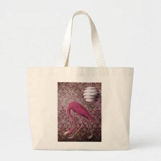 Pink Flamingo on Vintage Wallpaper Canvas Bags