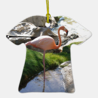 Pink Flamingo Double-Sided T-Shirt Ceramic Christmas Ornament