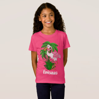 Pink flamingo palm tree girls customizable t-shirt