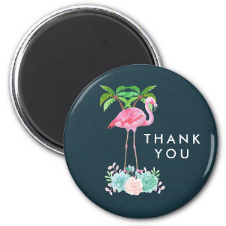 Pink Flamingo Palm trees and Floral Succulents Magnet