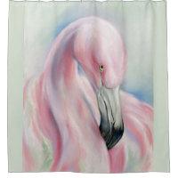 Pink Flamingo Pastel Art Shower Curtain