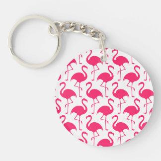 Pink Flamingo Pattern Keychain